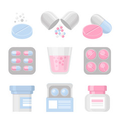medicine and pills colorful icon set vector image