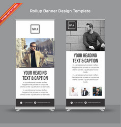 Minimal black and white rollup banner vector
