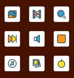 multimedia icons colored line set with search vector image