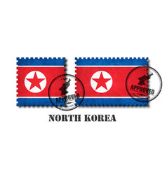 north korea flag pattern postage stamp with vector image