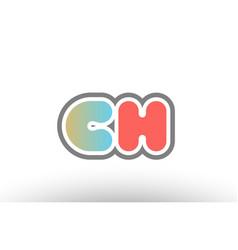 Orange pastel blue alphabet letter ch c h logo vector