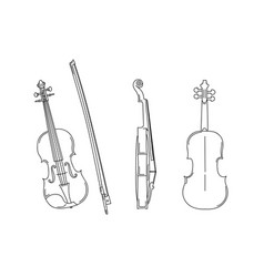 outline silhouette violin in different vector image