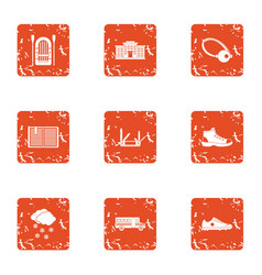 Peripheral city icons set grunge style vector