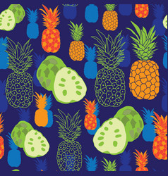 pineapple and anona-fruit delight seamless repeat vector image