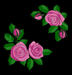 Pink rose embroidery composition vector