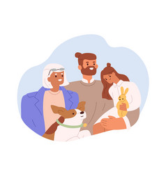 portrait happy family with grandmother adult vector image