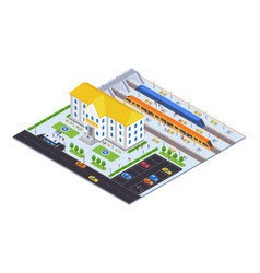 railway station - modern colorful isometric vector image