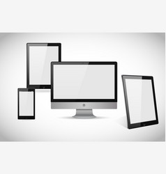 realistic computer laptop tablet and smartphone vector image
