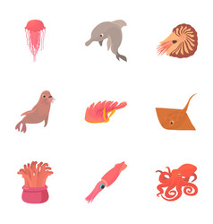 Resident marine life icons set cartoon style vector