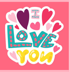 romantic love patch in doodle style vector image