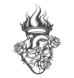 Sacred heart engraving vector