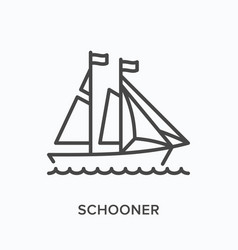 sail ship flat line icon outline vector image