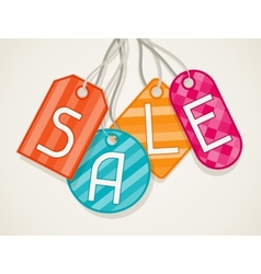 Sale poster with price labels in flat design style vector