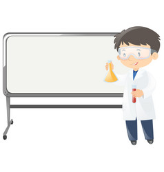 scientist with beakers standing by the board vector image
