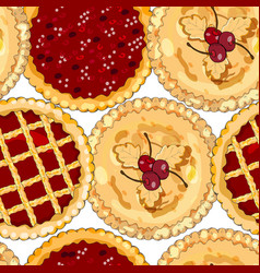 Seamless pattern with cherry pies the theme of vector