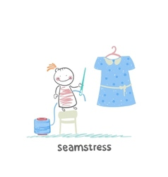 seamstress holding a needle and thread and work on vector image vector image