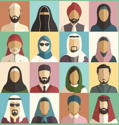 set muslim islamic people faces avatars vector image