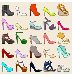 Set of 25 fashionable shoes vector image