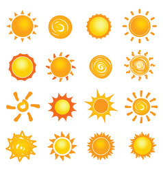sun icon collection set vector image