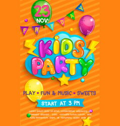 super flyer for kids party in cartoon style vector image