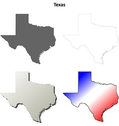 Texas outline map set vector