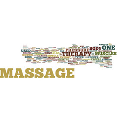 The common types of massage therapy text vector
