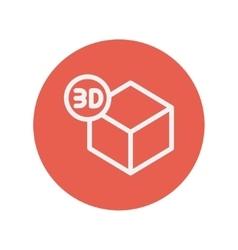 Three D box thin line icon vector image