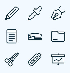 tool icons line style set with folder stapler vector image