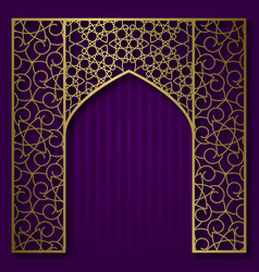 Traditional background with golden arched frame vector