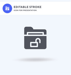 unlock icon filled flat sign solid vector image
