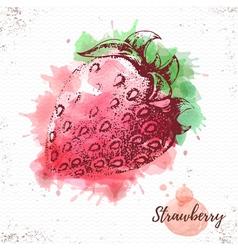 Watercolor strawberry sketch vector