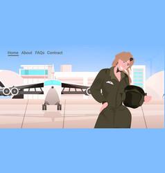 woman pilot in uniform standing near plane airport vector image