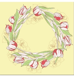 Wreath with red white tulips vector image