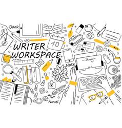 Writer workspace doodle set vector