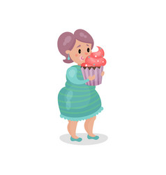 Young fat woman eating giant cupcake harmful vector