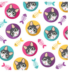 cute cat pattern vector image vector image