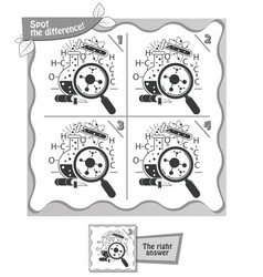 Spot the difference black and white game vector
