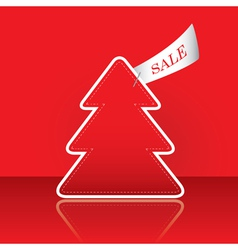 christmas tree with sale tag vector image