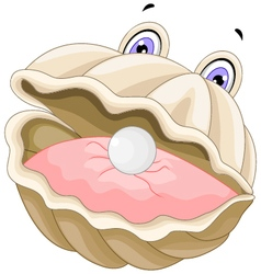 cute oyster with a pearl cartoon vector image vector image