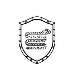 monochrome silhouette with shield with snake virus vector image