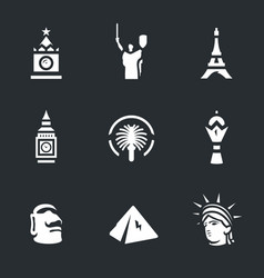 set of landmark icons vector image