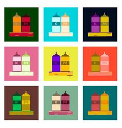 set pixel icons of ketchup and mustard vector image