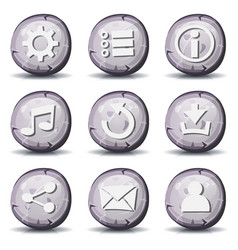 stone and rock icons for ui game vector image vector image