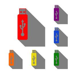 usb flash drive sign set of red orange vector image