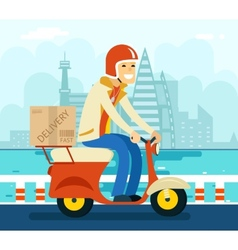 Courier Delivery on Scooter Symbol Icon Concept vector image
