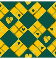Diamond Chessboard Yellow Green Heart Valentine vector image vector image