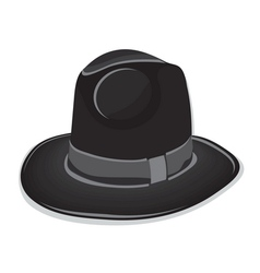 Gangster black hat on the white background vector image