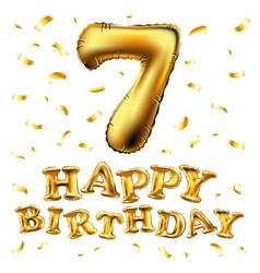 golden number seven metallic balloon party vector image vector image