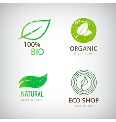 set of eco logos leaves organic vector image vector image