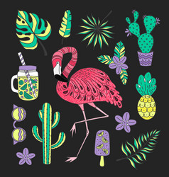 Set of hand drawn elements with flamingo vector